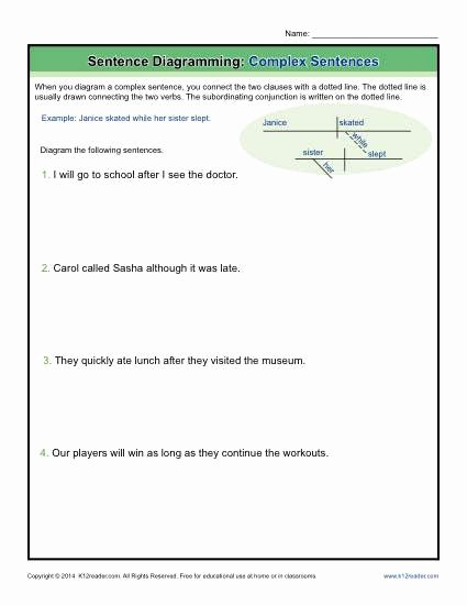 Compound Sentences Worksheet Pdf Unique Sentence Diagramming Plex Sentences Worksheets