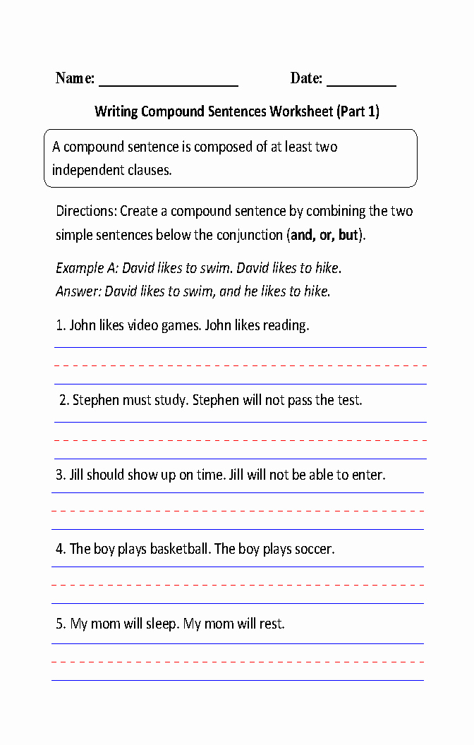 Compound Sentences Worksheet Pdf Unique Writing Pound Sentences Worksheet Part 1