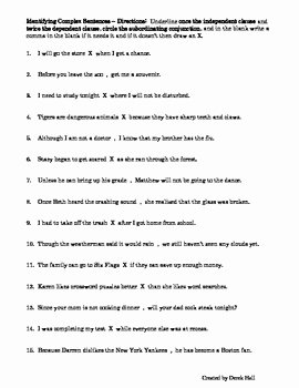 Compound Sentences Worksheet with Answers Elegant Ela Mon Core Plex Sentences Worksheet by Scholastic
