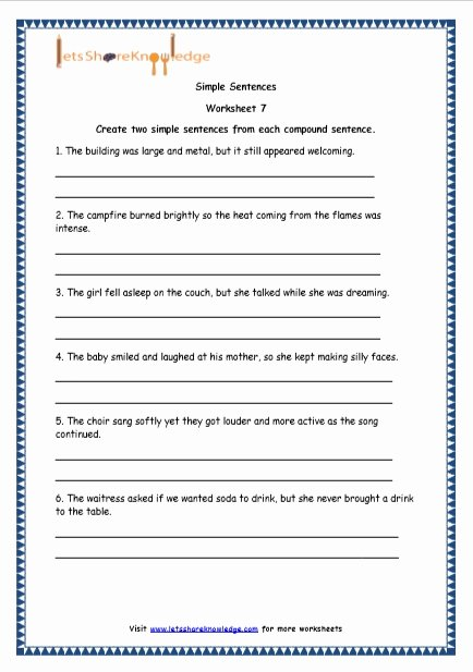 Compound Sentences Worksheet with Answers Fresh Grade 4 English Resources Printable Worksheets topic