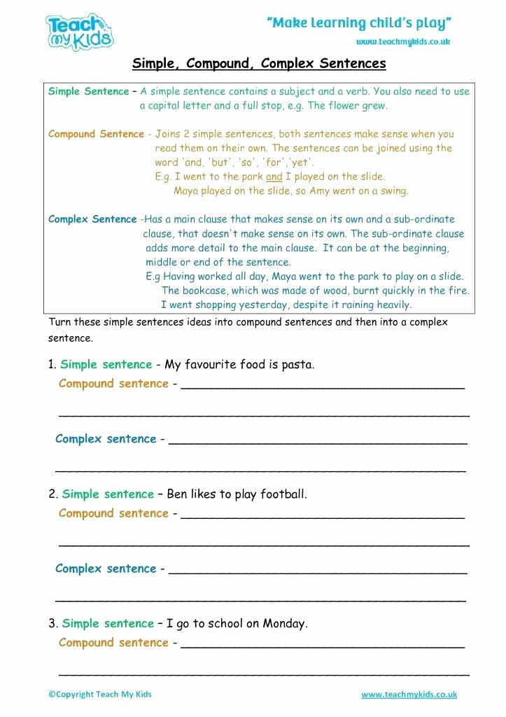 Compound Sentences Worksheet with Answers Inspirational Worksheets for Kids Simple to Pound Plex Sentence