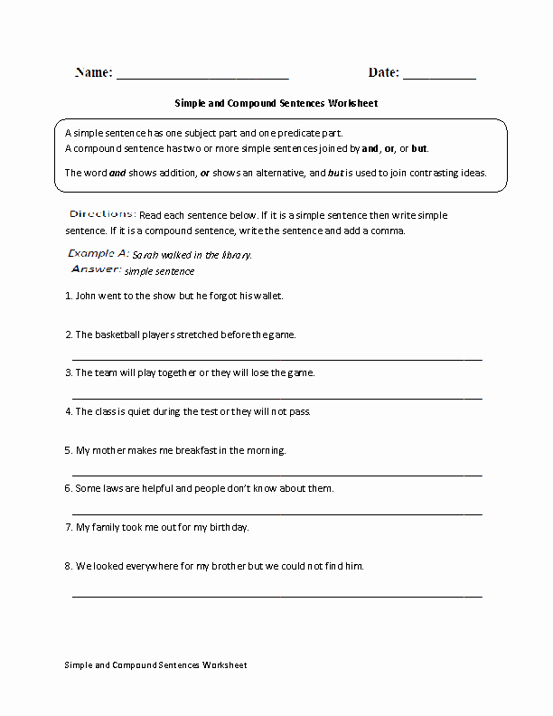 Compound Sentences Worksheet with Answers New Sentences Worksheets