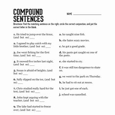 Compound Sentences Worksheet with Answers Unique Conjunction Worksheet 6 Problems with Answer Key