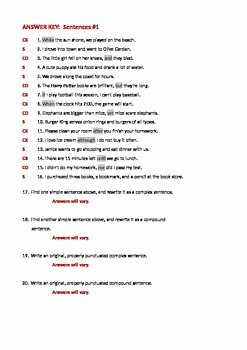 Compound Sentences Worksheet with Answers Unique Ela Sentence Structure Simple Plex & Pound