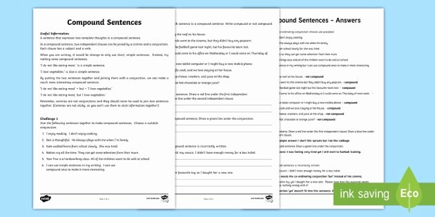 Compound Sentences Worksheet with Answers Unique Pound Sentence Worksheet Pound Sentence Worksheet