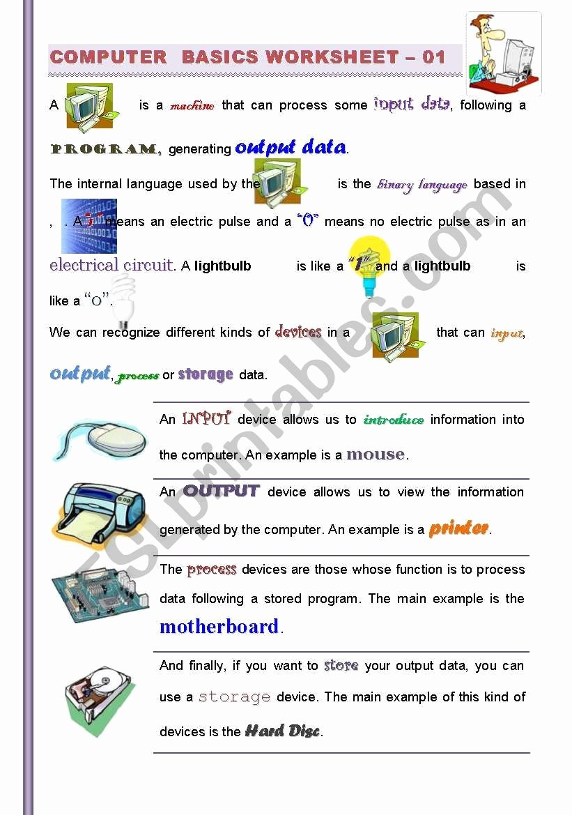Computer Basics Worksheet Answer Key Luxury Part I 2 Puter Basics Getting Familiarized with