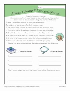 Concrete and Abstract Nouns Worksheet Awesome Abstract and Concrete Nouns