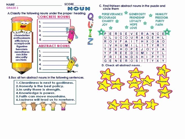 Concrete and Abstract Nouns Worksheet Awesome Concrete and Abstract Nouns Lesson Plans & Worksheets