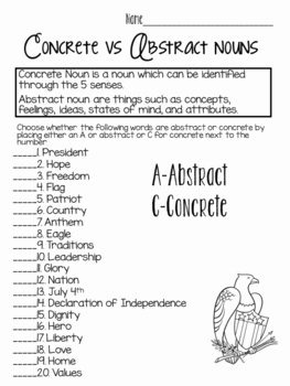 Concrete and Abstract Nouns Worksheet Awesome Concrete Vs Abstract Nouns American Style by Newman S