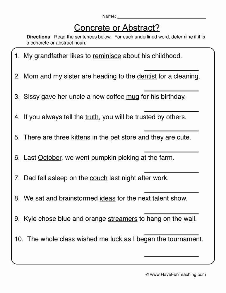 Concrete and Abstract Nouns Worksheet Awesome Mon or Abstract Nouns Worksheet