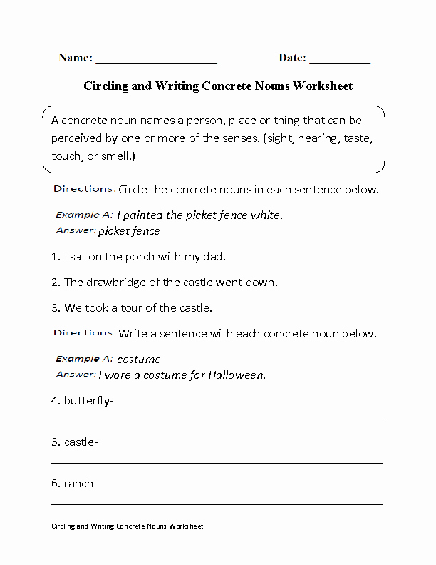 Concrete and Abstract Nouns Worksheet Beautiful Nouns Worksheets