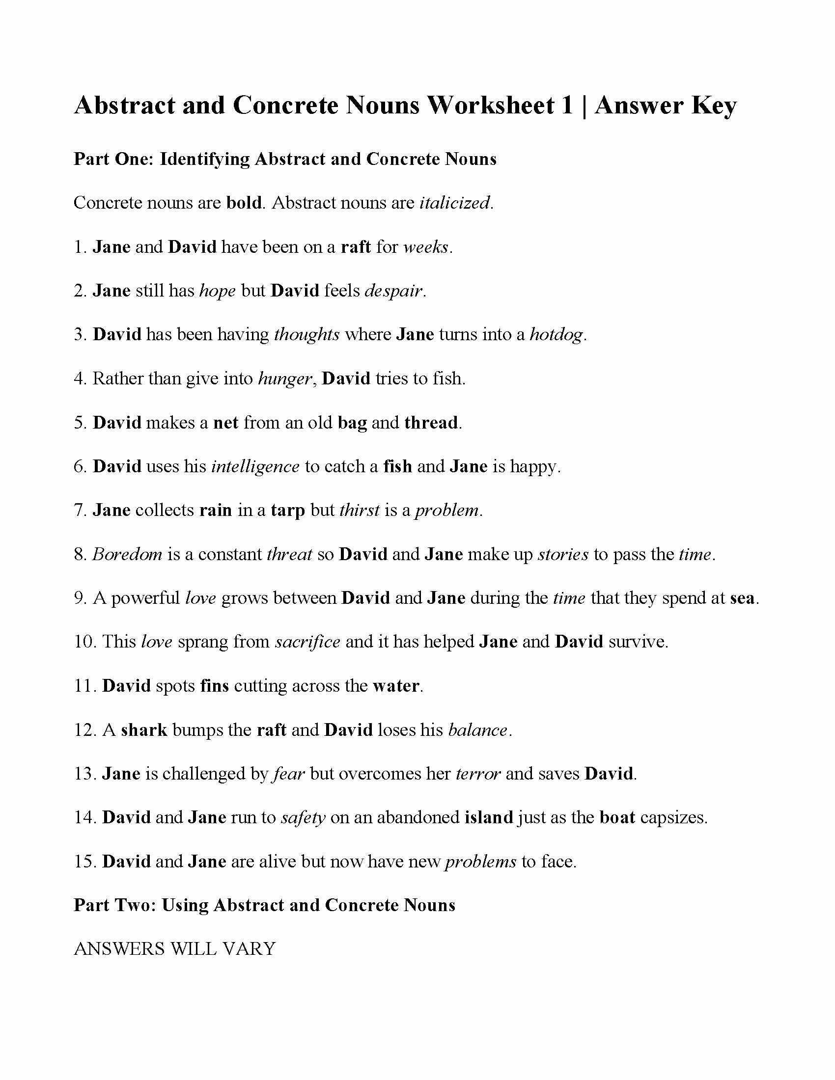 Concrete and Abstract Nouns Worksheet Elegant Concrete and Abstract Nouns Worksheet
