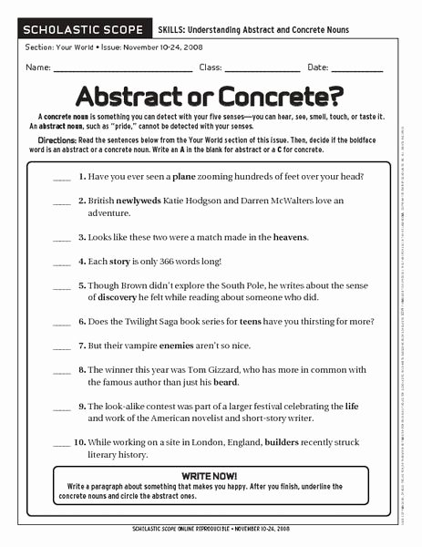 Concrete and Abstract Nouns Worksheet Fresh 17 Best Images About Grammar & Punctuation On Pinterest