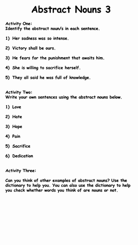 Concrete and Abstract Nouns Worksheet Fresh Abstract Nouns by Krisgreg30