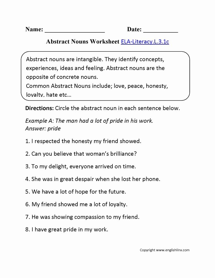 Concrete and Abstract Nouns Worksheet Fresh Abstract Nouns Worksheet 1 Ela Literacy L 3 1c Language