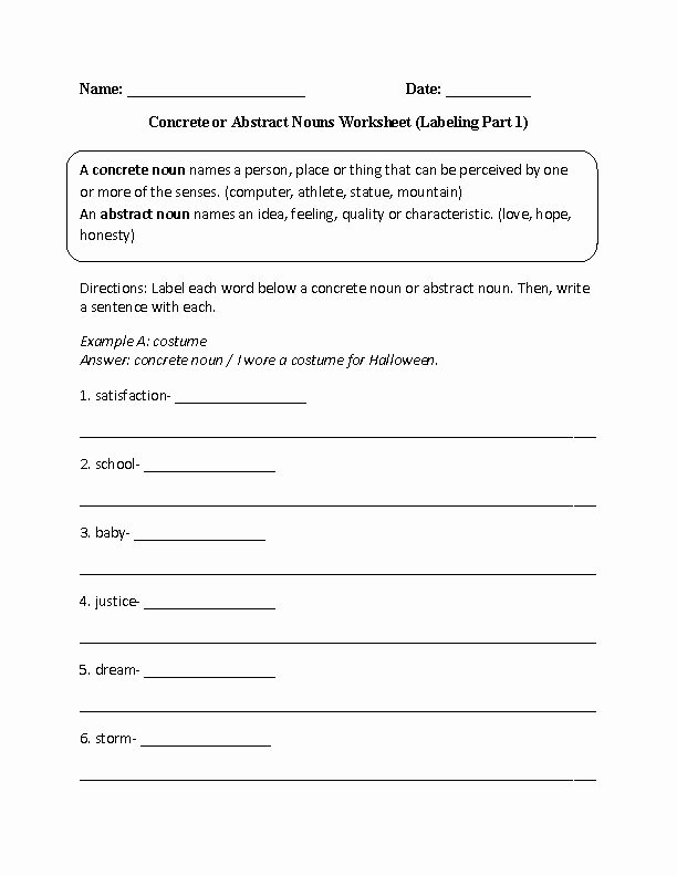 Concrete and Abstract Nouns Worksheet Fresh Labeling Concrete or Abstract Nouns Worksheet