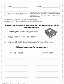 Concrete and Abstract Nouns Worksheet Lovely Abstract and Concrete Nouns Worksheets by Homework Hut