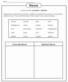 Concrete and Abstract Nouns Worksheet Lovely Abstract or Concrete Nouns Worksheets Pinterest