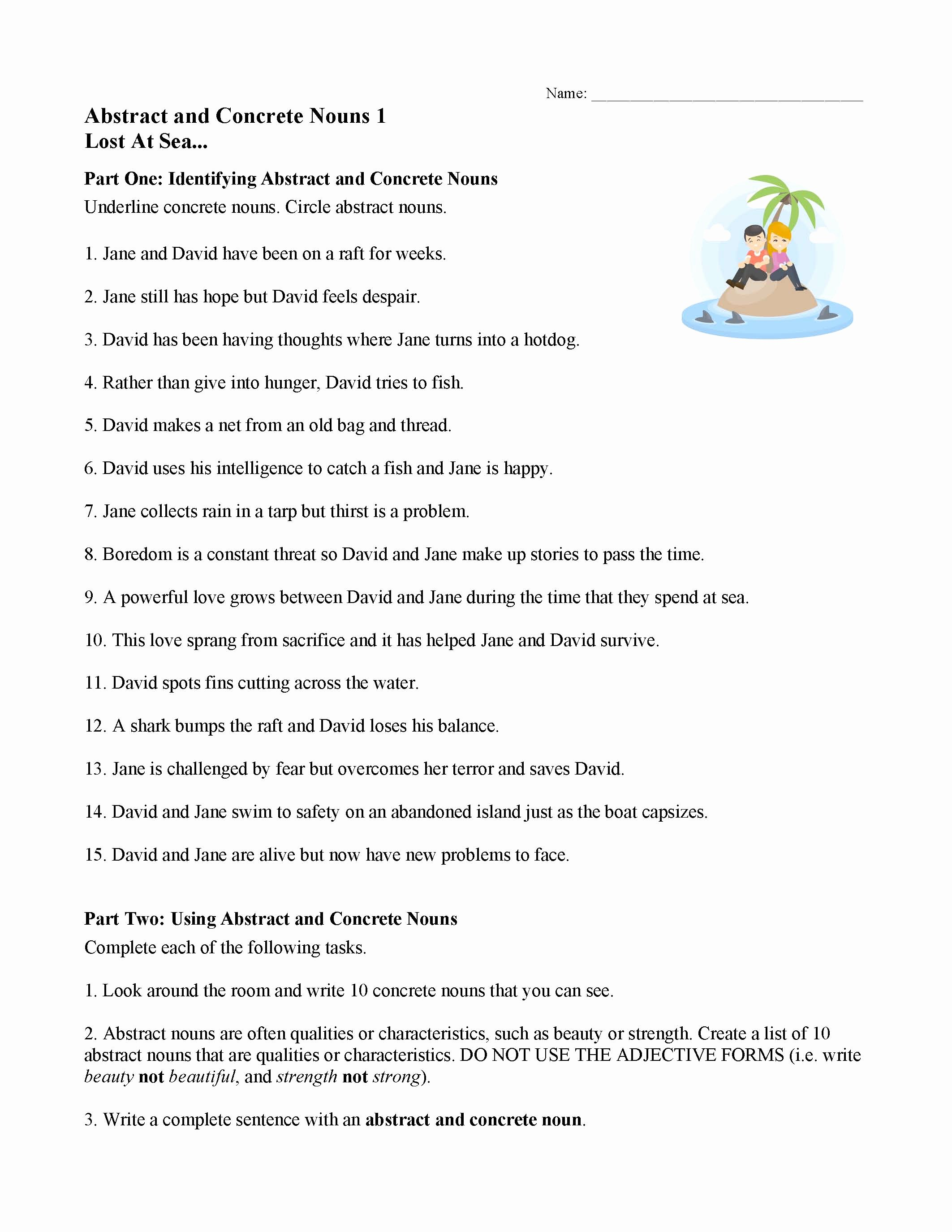 Concrete and Abstract Nouns Worksheet Lovely Concrete and Abstract Nouns Worksheet