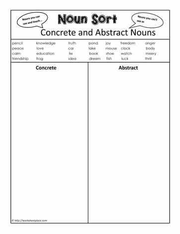 Concrete and Abstract Nouns Worksheet Luxury Abstract or Concrete Nouns Worksheets