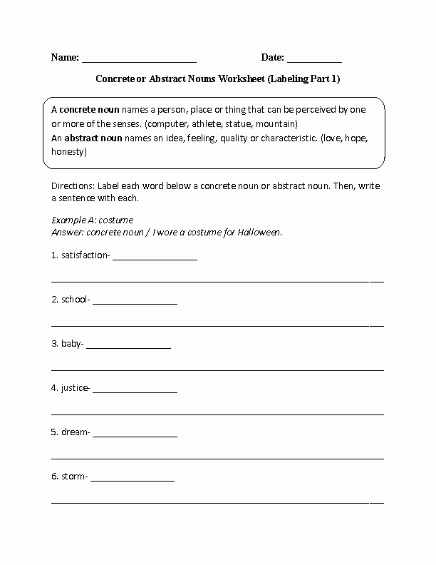 Concrete and Abstract Nouns Worksheet Luxury Labeling Concrete or Abstract Nouns Worksheet