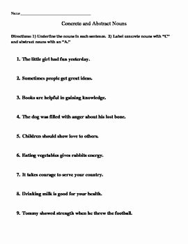 Concrete and Abstract Nouns Worksheet New Concrete and Abstract Nouns