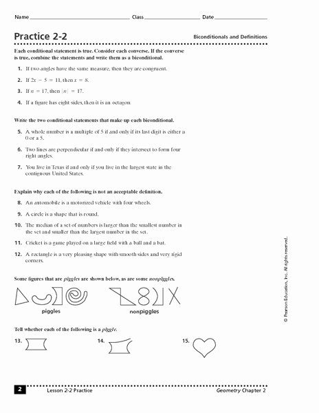 Conditional Statement Worksheet Geometry Luxury Practice 2 2 Biconditionals and Definitions Worksheet for