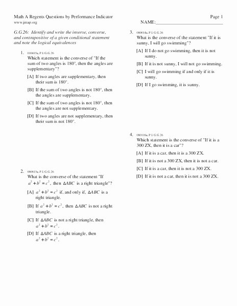 Conditional Statement Worksheet Geometry Unique Math A Regents Questions by Performance Indicator
