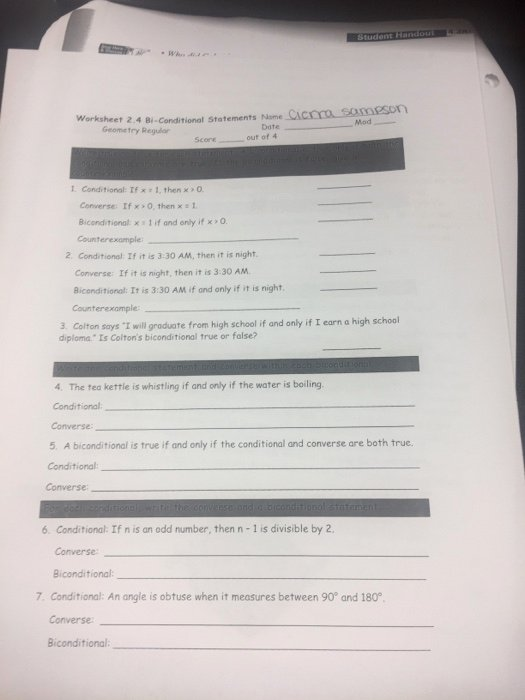 Conditional Statement Worksheet Geometry Unique solved Worksheet 2 4 Bi Conditional Statements Nome Date