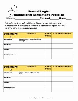 Conditional Statements Worksheet with Answers Fresh Geometry Conditional Statements Iii Converse Inverse