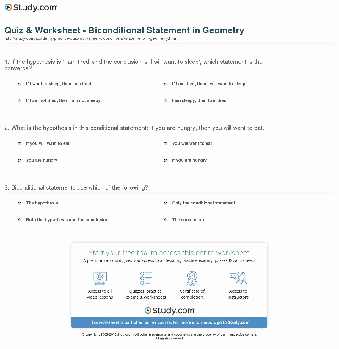 Conditional Statements Worksheet with Answers Fresh Quiz & Worksheet Biconditional Statement In Geometry