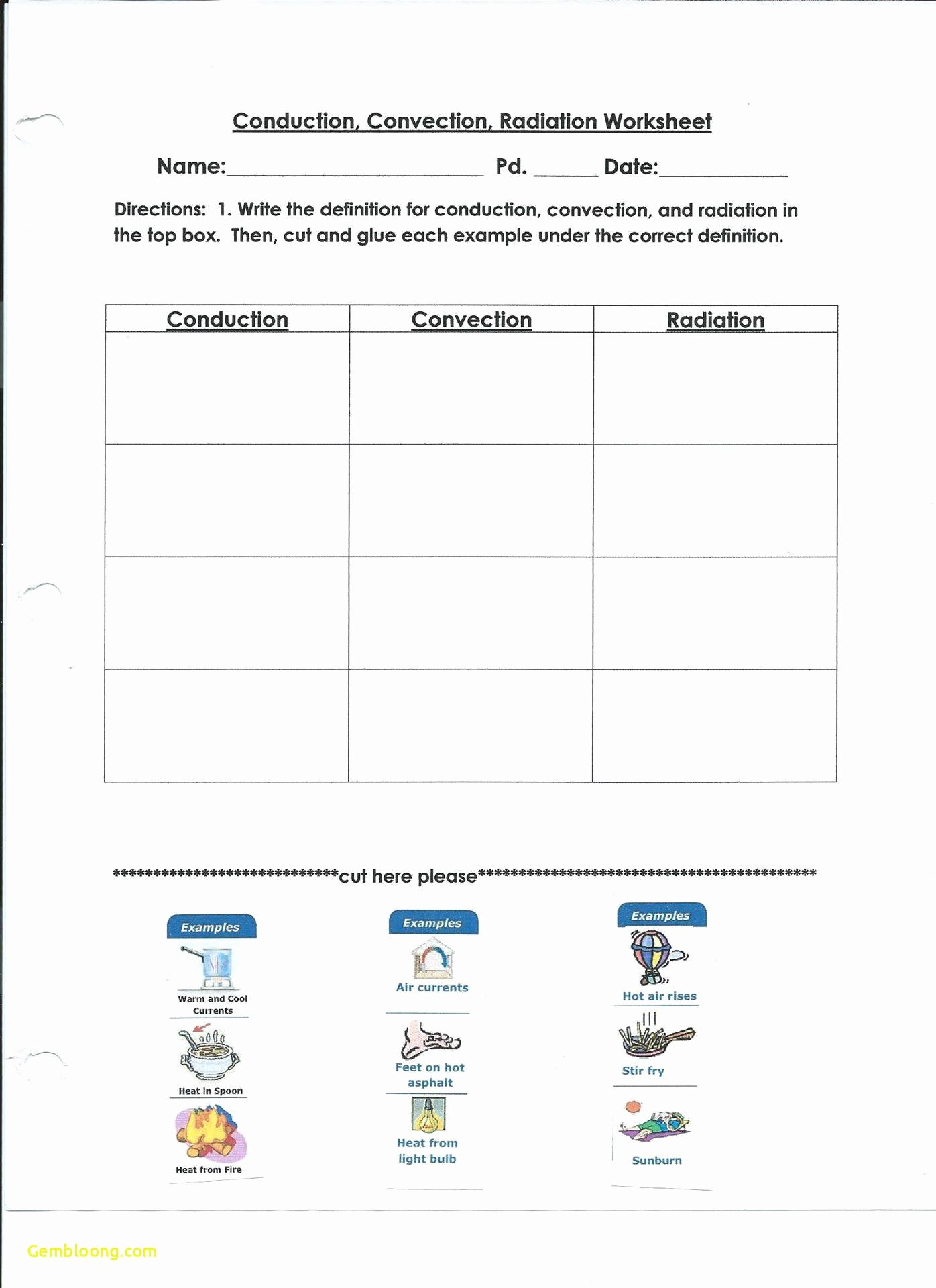 Conduction Convection and Radiation Worksheet Fresh Energy Worksheet 2 Conduction Convection and Radiation