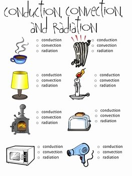 Conduction Convection and Radiation Worksheet Luxury Conduction Convection and Radiation Worksheet with