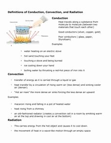 Conduction Convection Radiation Worksheet Awesome Definitions Of Conduction Convection and Radiation 6th
