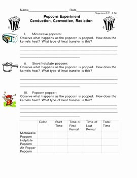 Conduction Convection Radiation Worksheet Beautiful Conduction Convection Radiation Popcorn Lab by Luv 2