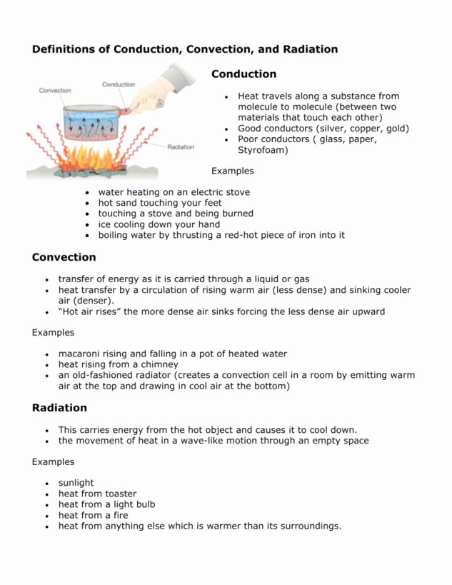 Conduction Convection Radiation Worksheet Beautiful Energy Worksheet 2 Conduction Convection and Radiation