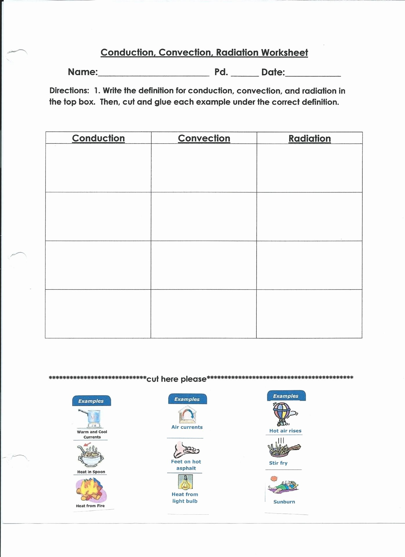 Conduction Convection Radiation Worksheet Fresh Convection Radiation Conduction Worksheet Inspiracao