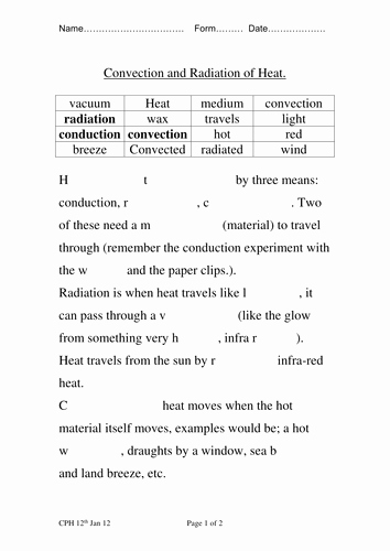 Conduction Convection Radiation Worksheet New Conduction Convection Radiation
