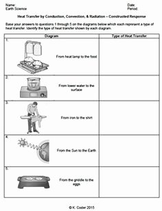 Conduction Convection Radiation Worksheet Unique Conduction Convection Radiation Worksheet