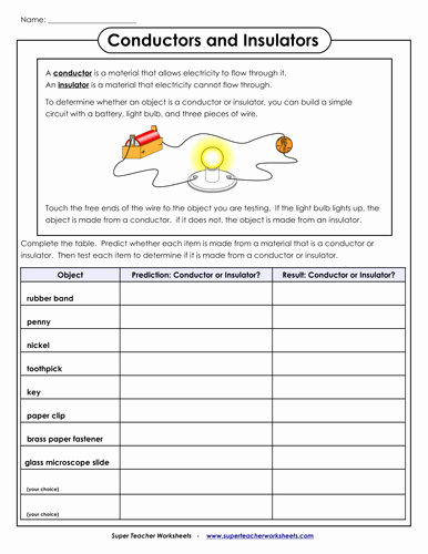 Conductors and Insulators Worksheet Awesome Conductor and Insulator Worksheet for 2nd and 3rd Graders