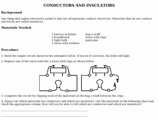 Conductors and Insulators Worksheet Best Of Conductors and Insulators Experiment Worksheet for 5th