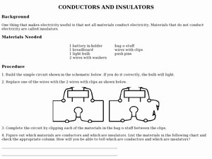 Conductors and Insulators Worksheet Best Of Conductors and Insulators Lesson Plans & Worksheets