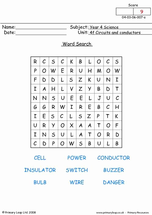 Conductors and Insulators Worksheet Elegant Circuits and Conductors Word Search