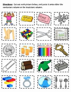 Conductors and Insulators Worksheet Inspirational Conductors & Insulators sort by Teach In the Peach