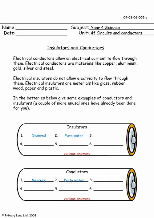 Conductors and Insulators Worksheet Lovely Insulators and Conductors