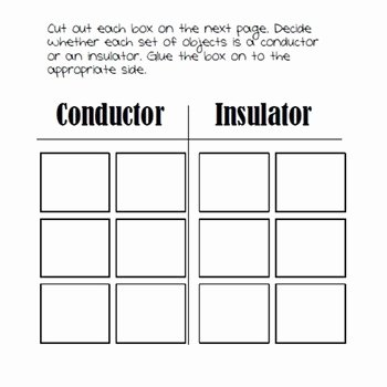 Conductors and Insulators Worksheet Luxury Conductors and Insulators sorting Activity by Teaching