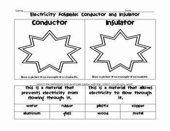 Conductors and Insulators Worksheet Unique Electricity Foldable and Ve by Kristin Jennison