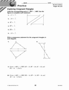 Congruent Triangles Worksheet Answer Key New Exploring Congruent Triangles 8th 9th Grade Worksheet