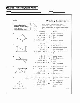 Congruent Triangles Worksheet Answer Key New Geometry Unit 8 Congruent Triangles 2 Column Proofs Sss
