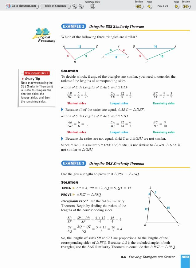 Congruent Triangles Worksheet Answer Key Unique theorems for Similar Triangles Worksheet Answers